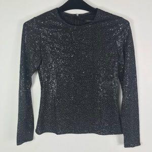 Carmen Marc Valvo fitted sequined long sleeve top
